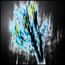 Frank Titze, Ulm/Germany - No. 2130 : Trees I - Yellow Lights on Blue Tree - 640x640 Pixel - 425 kB