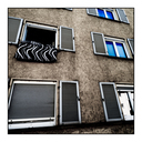 Frank Titze, Ulm/Germany - No. 5252 : Square 1:1 IV - Facade with Open Window - ImageWidth : --- xImageHeight : ---  Pixel - 394 kB