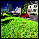 Frank Titze, Ulm/Germany - No. 6352 : Square 1:1 VIII - Green Grass Red Car - ImageWidth : --- xImageHeight : ---  Pixel - 790 kB